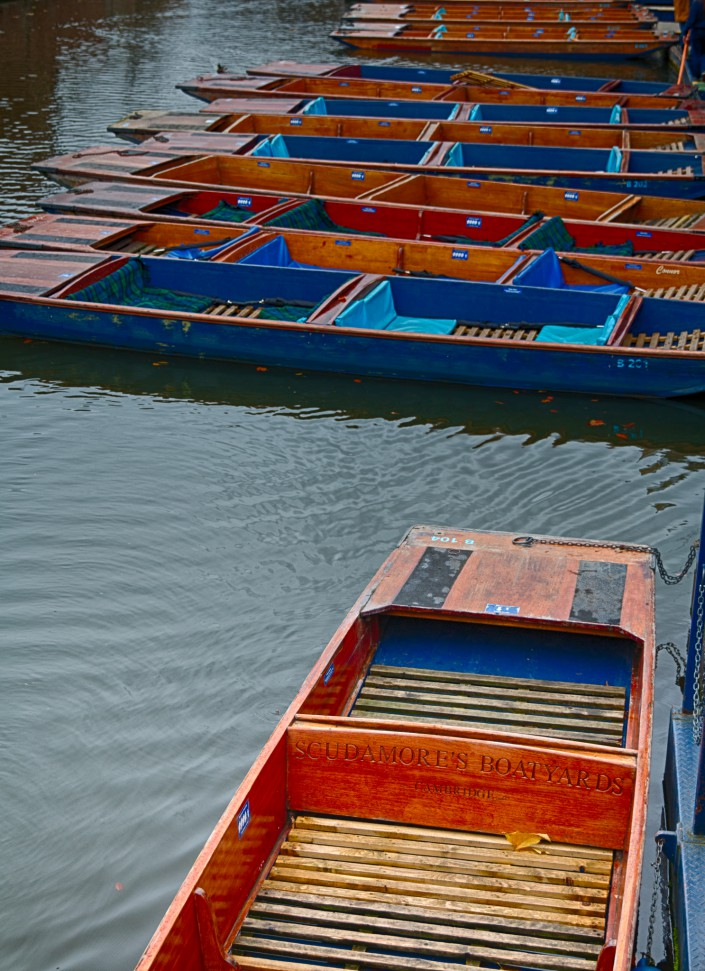 Punting boats closeup